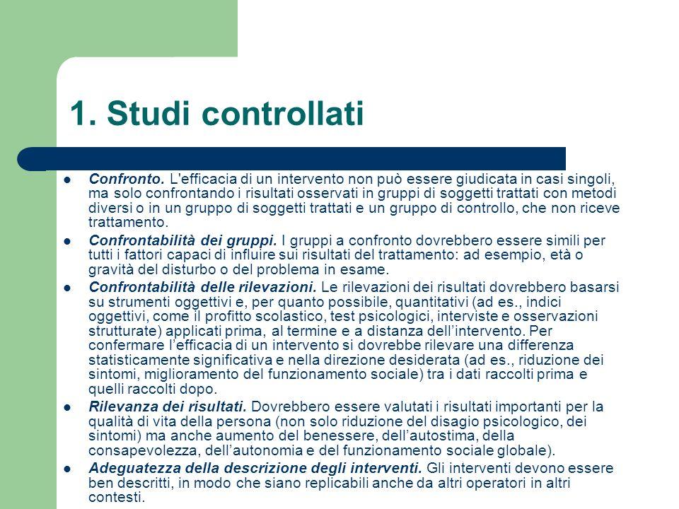 1. Studi controllati Confronto. L'efficacia di un intervento non può essere giudicata in casi singoli, ma solo confrontando i risultati osservati in g
