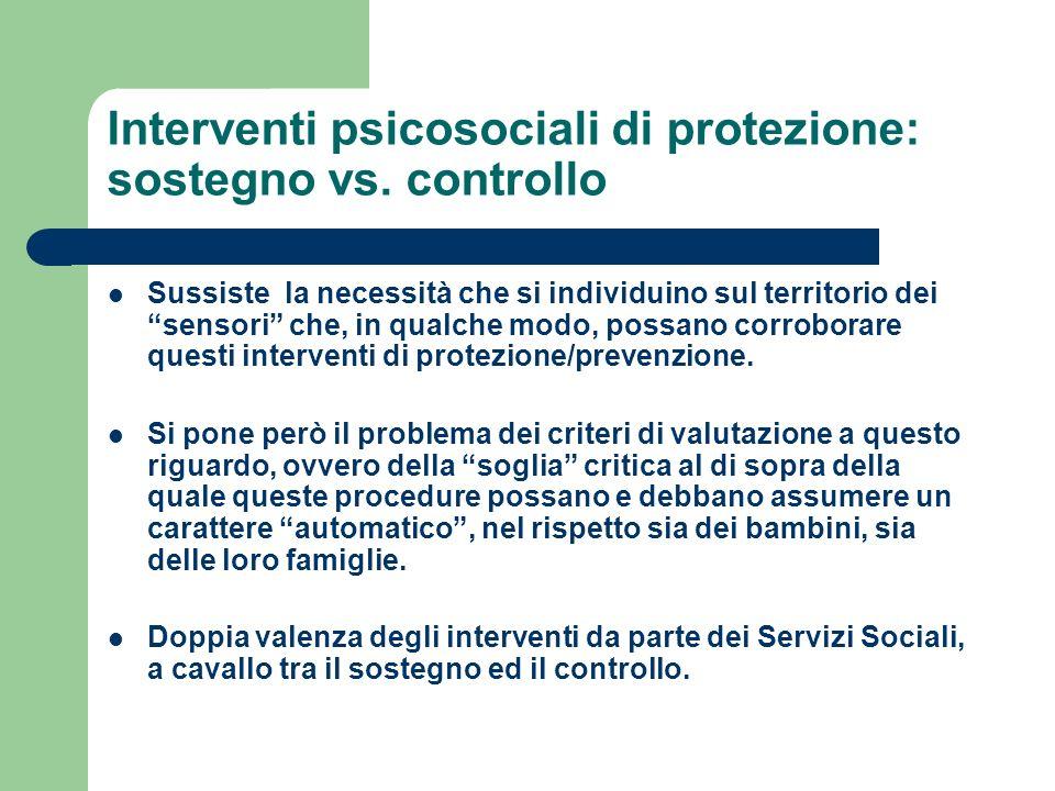 Interventi psicosociali di protezione: sostegno vs. controllo Sussiste la necessità che si individuino sul territorio dei sensori che, in qualche modo