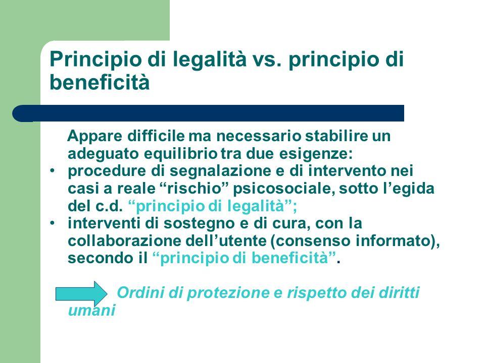 Principio di legalità vs. principio di beneficità Appare difficile ma necessario stabilire un adeguato equilibrio tra due esigenze: procedure di segna