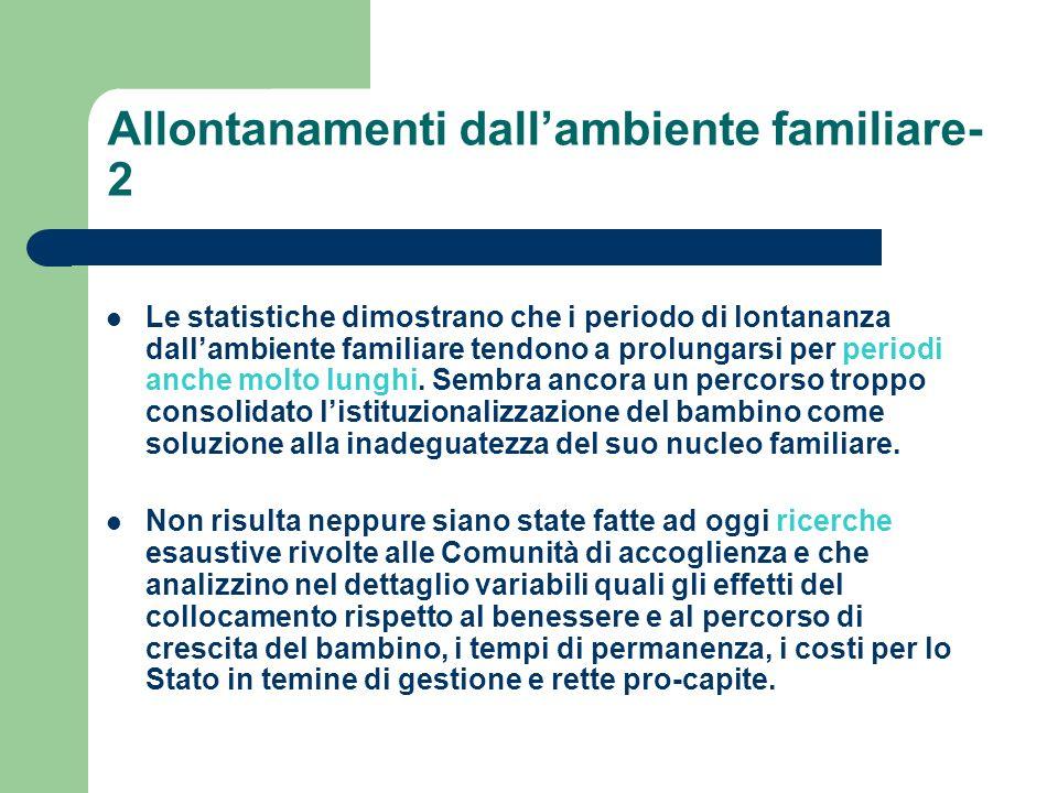 Allontanamenti dallambiente familiare- 2 Le statistiche dimostrano che i periodo di lontananza dallambiente familiare tendono a prolungarsi per period