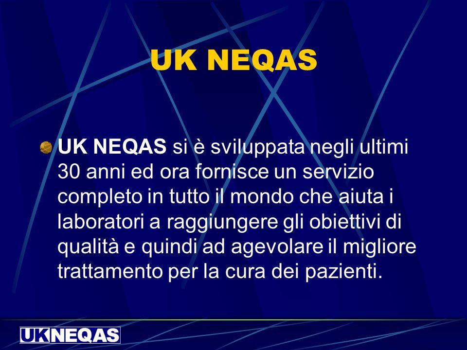 UK NEQAS UK NEQAS si è sviluppata negli ultimi 30 anni ed ora fornisce un servizio completo in tutto il mondo che aiuta i laboratori a raggiungere gli obiettivi di qualità e quindi ad agevolare il migliore trattamento per la cura dei pazienti.
