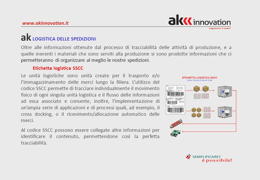 integrazione di sistemi www.akinnovation.it ak LOGISTICA DELLE SPEDIZIONI Oltre alle informazioni ottenute dal processo di tracciabilità delle attivit