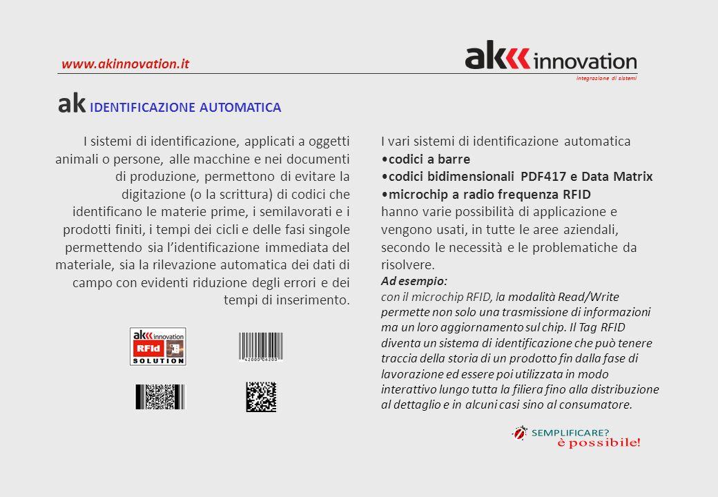 integrazione di sistemi www.akinnovation.it La memorizzazione della movimentazione dei materiali per qualunque tipo di attività aziendale, oltre alla gestione dei magazzini, include il controllo della tracciabilità automatica dei materiali.