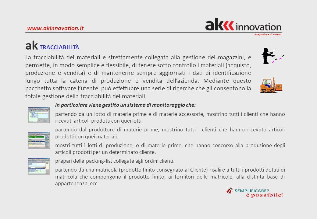 integrazione di sistemi www.akinnovation.it La tracciabilità dei materiali è strettamente collegata alla gestione dei magazzini, e permette, in modo s