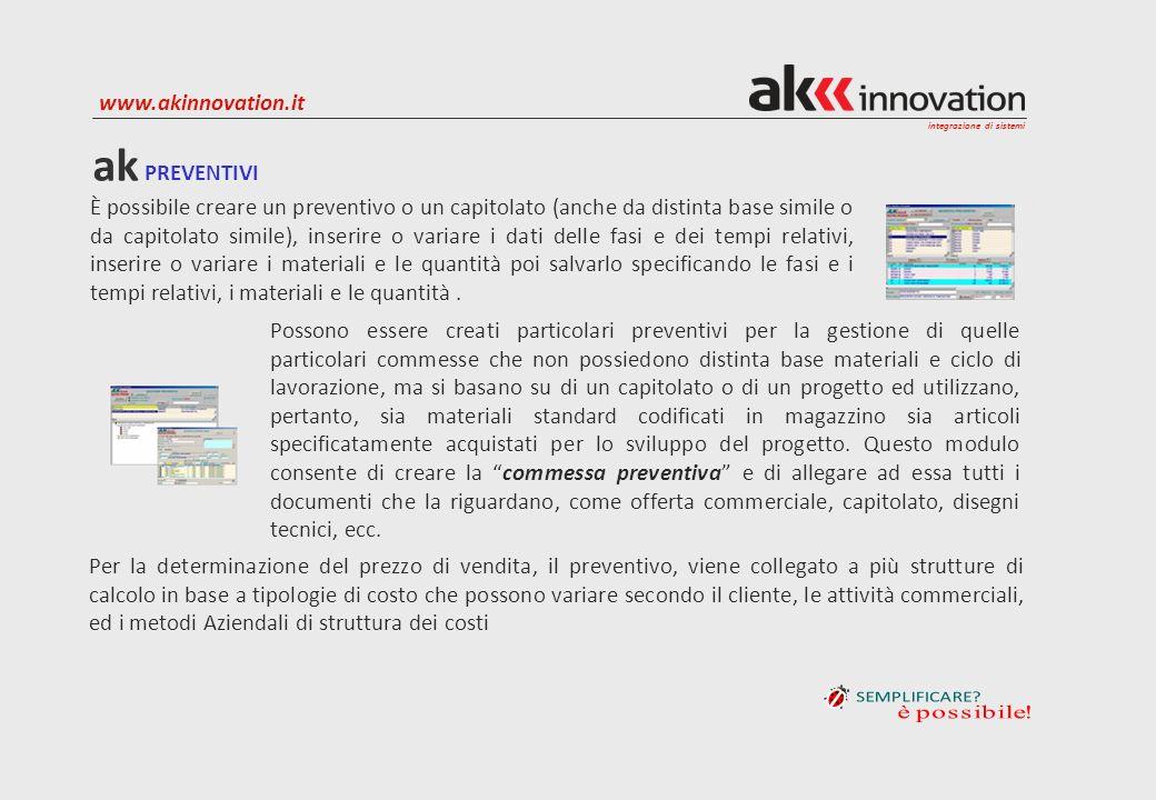 integrazione di sistemi www.akinnovation.it È possibile creare un preventivo o un capitolato (anche da distinta base simile o da capitolato simile), i