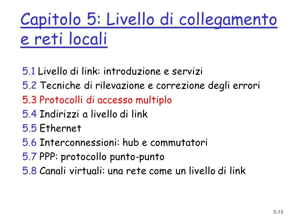 5-15 Capitolo 5: Livello di collegamento e reti locali 5.1 Livello di link: introduzione e servizi 5.2 Tecniche di rilevazione e correzione degli errori 5.3 Protocolli di accesso multiplo 5.4 Indirizzi a livello di link 5.5 Ethernet 5.6 Interconnessioni: hub e commutatori 5.7 PPP: protocollo punto-punto 5.8 Canali virtuali: una rete come un livello di link