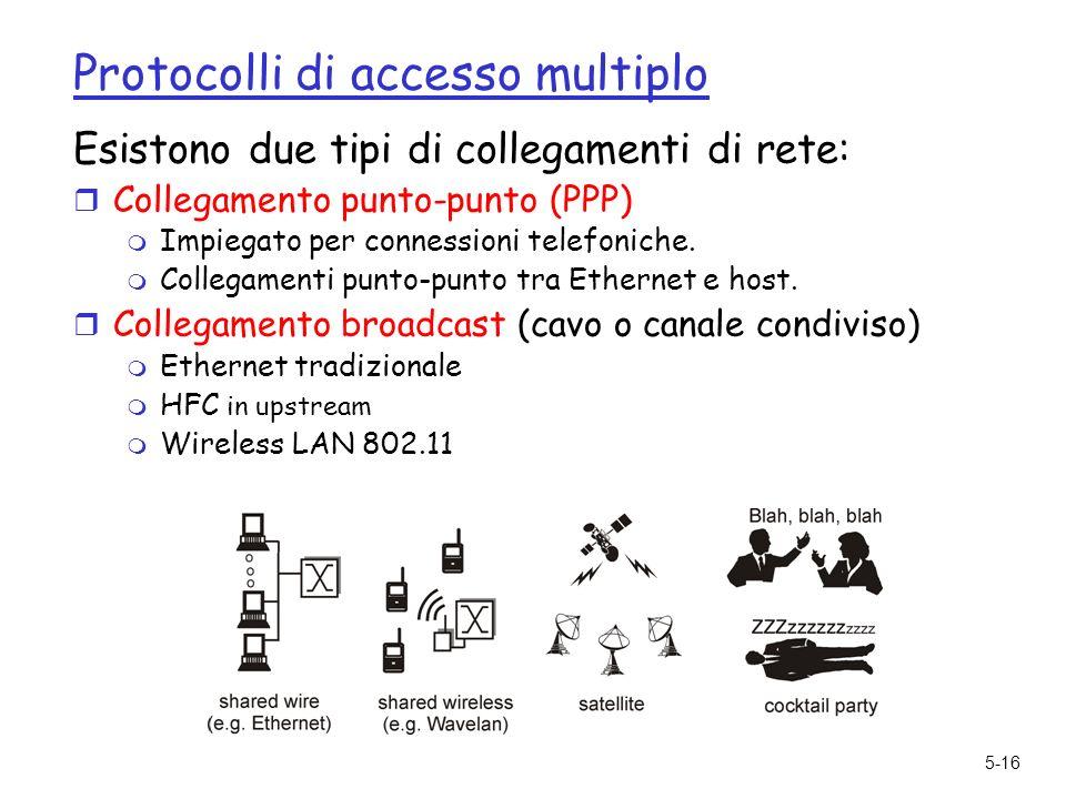 5-16 Protocolli di accesso multiplo Esistono due tipi di collegamenti di rete: r Collegamento punto-punto (PPP) m Impiegato per connessioni telefoniche.