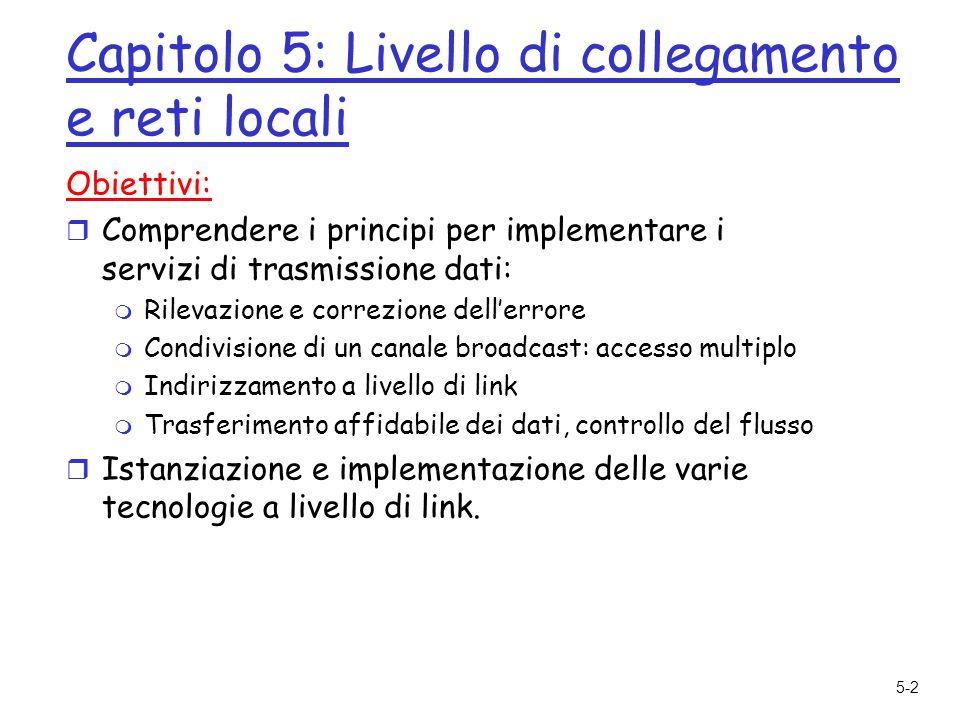5-3 Capitolo 5: Livello di collegamento e reti locali 5.1 Livello di link: introduzione e servizi 5.2 Tecniche di rilevazione e correzione degli errori 5.3 Protocolli di accesso multiplo 5.4 Indirizzi a livello di link 5.5 Ethernet 5.6 Interconnessioni: hub e commutatori 5.7 PPP: protocollo punto-punto 5.8 Canali virtuali: una rete come un livello di link