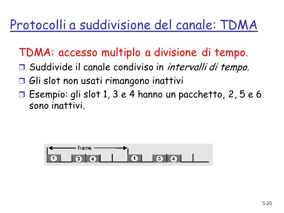 5-20 Protocolli a suddivisione del canale: TDMA TDMA: accesso multiplo a divisione di tempo.