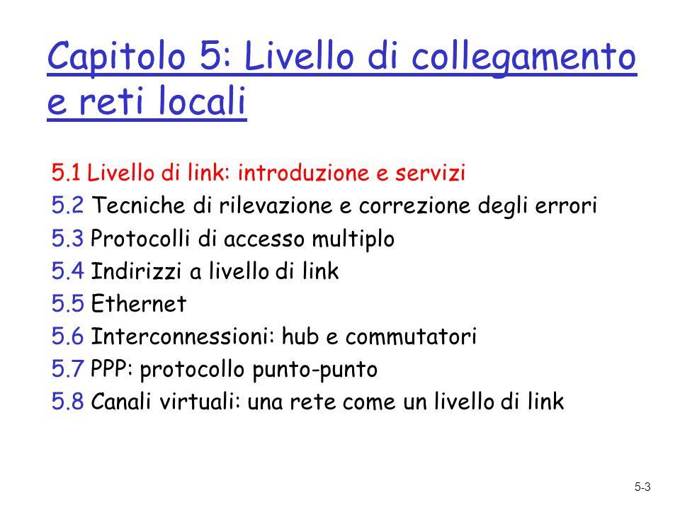 5-44 Capitolo 5: Livello di collegamento e reti locali 5.1 Livello di link: introduzione e servizi 5.2 Tecniche di rilevazione e correzione degli errori 5.3 Protocolli di accesso multiplo 5.4 Indirizzi a livello di link 5.5 Ethernet 5.6 Interconnessioni: hub e commutatori 5.7 PPP: protocollo punto-punto 5.8 Canali virtuali: una rete come un livello di link