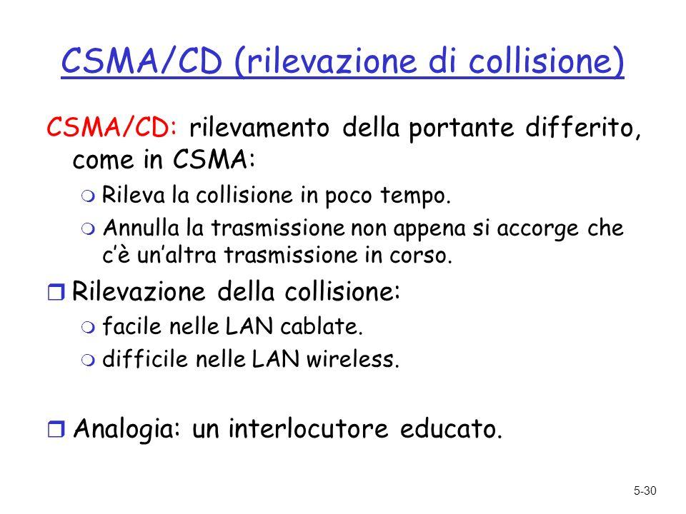 5-30 CSMA/CD (rilevazione di collisione) CSMA/CD: rilevamento della portante differito, come in CSMA: m Rileva la collisione in poco tempo.