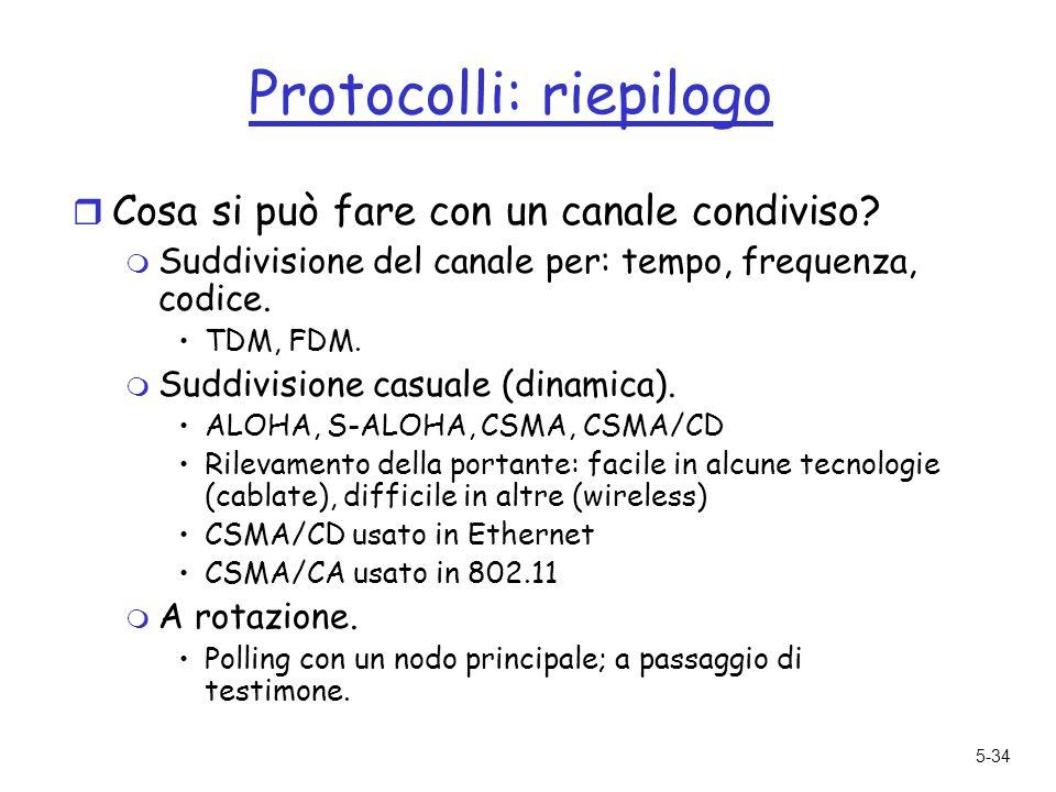 5-34 Protocolli: riepilogo r Cosa si può fare con un canale condiviso.