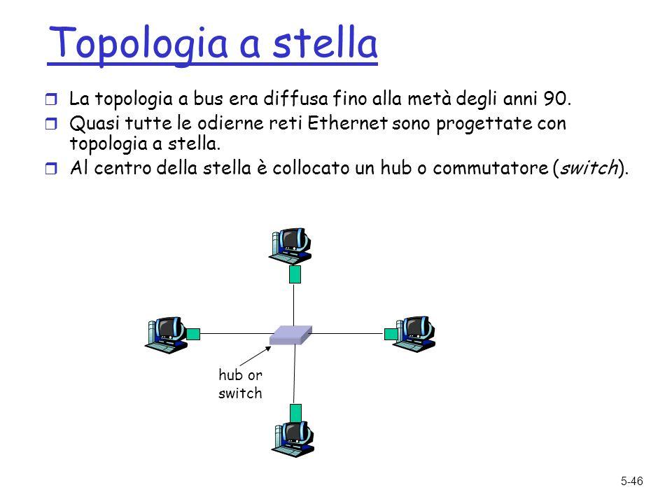 5-46 Topologia a stella r La topologia a bus era diffusa fino alla metà degli anni 90.