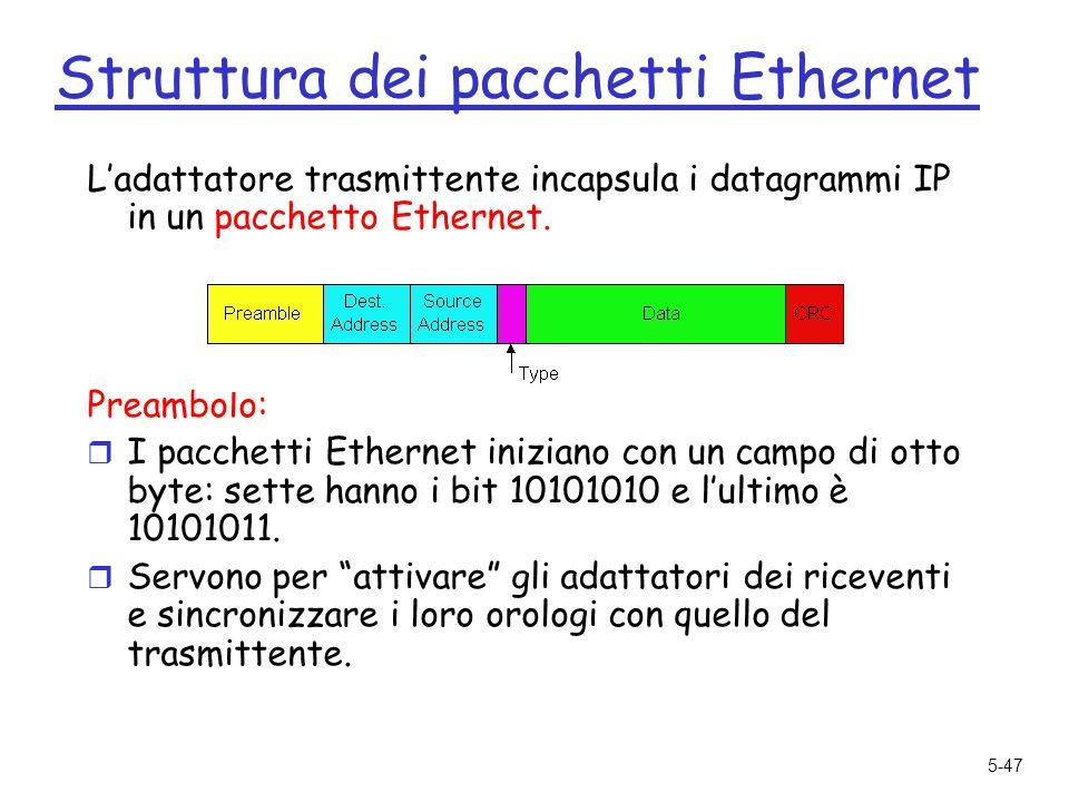5-47 Struttura dei pacchetti Ethernet Ladattatore trasmittente incapsula i datagrammi IP in un pacchetto Ethernet.