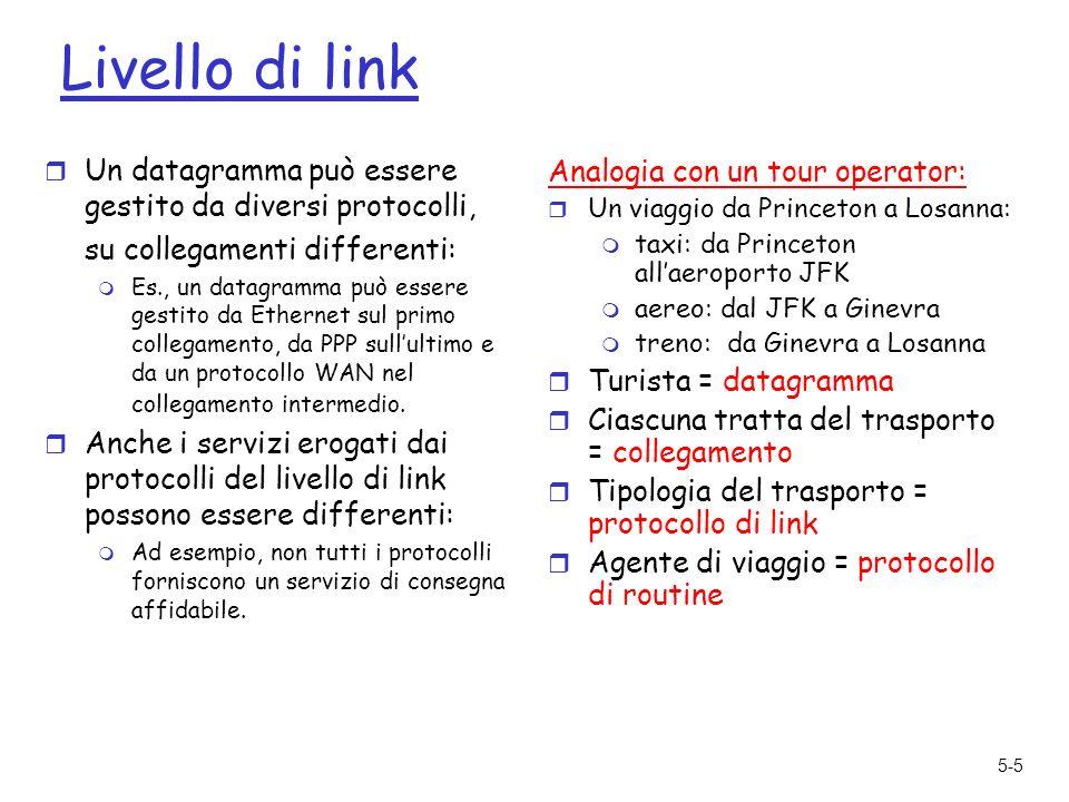 5-36 Capitolo 5: Livello di collegamento e reti locali 5.1 Livello di link: introduzione e servizi 5.2 Tecniche di rilevazione e correzione degli errori 5.3 Protocolli di accesso multiplo 5.4 Indirizzi a livello di link 5.5 Ethernet 5.6 Interconnessioni: hub e commutatori 5.7 PPP: protocollo punto-punto 5.8 Canali virtuali: una rete come un livello di link