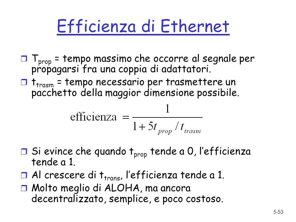 5-53 Efficienza di Ethernet r T prop = tempo massimo che occorre al segnale per propagarsi fra una coppia di adattatori.