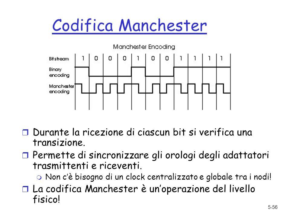 5-56 Codifica Manchester r Durante la ricezione di ciascun bit si verifica una transizione.