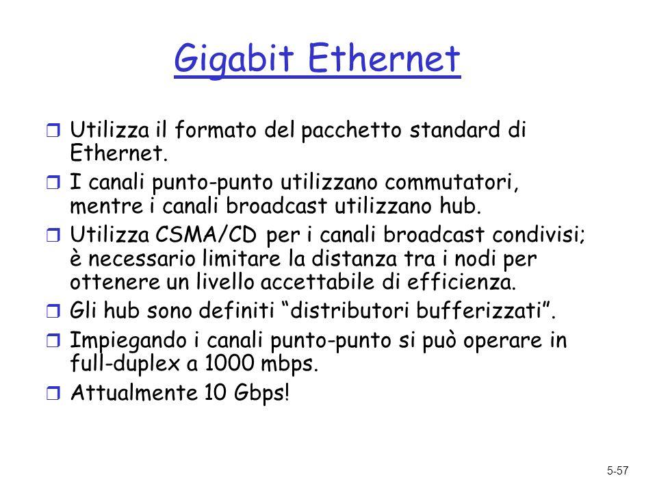 5-57 Gigabit Ethernet r Utilizza il formato del pacchetto standard di Ethernet.