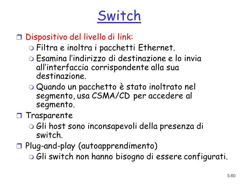 5-60 Switch r Dispositivo del livello di link: m Filtra e inoltra i pacchetti Ethernet.