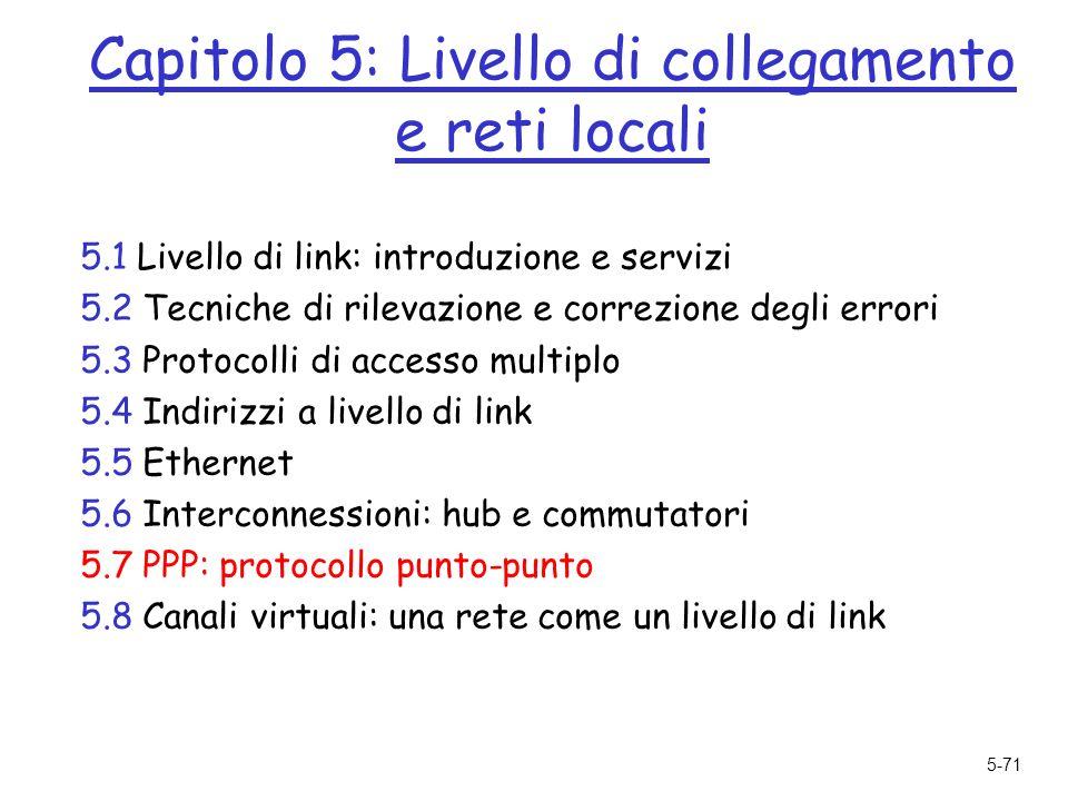 5-71 Capitolo 5: Livello di collegamento e reti locali 5.1 Livello di link: introduzione e servizi 5.2 Tecniche di rilevazione e correzione degli errori 5.3 Protocolli di accesso multiplo 5.4 Indirizzi a livello di link 5.5 Ethernet 5.6 Interconnessioni: hub e commutatori 5.7 PPP: protocollo punto-punto 5.8 Canali virtuali: una rete come un livello di link