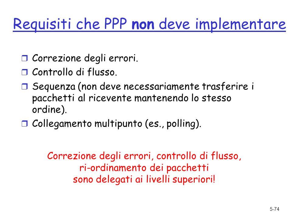 5-74 Requisiti che PPP non deve implementare r Correzione degli errori.