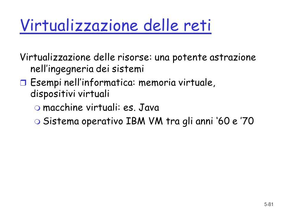5-81 Virtualizzazione delle reti Virtualizzazione delle risorse: una potente astrazione nellingegneria dei sistemi r Esempi nellinformatica: memoria virtuale, dispositivi virtuali m macchine virtuali: es.