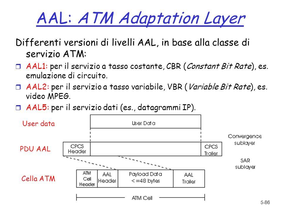 5-86 AAL: ATM Adaptation Layer Differenti versioni di livelli AAL, in base alla classe di servizio ATM: r AAL1: per il servizio a tasso costante, CBR (Constant Bit Rate), es.