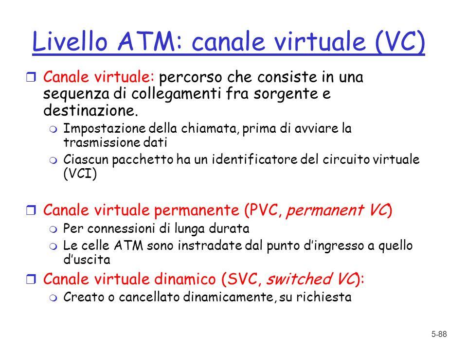 5-88 Livello ATM: canale virtuale (VC) r Canale virtuale: percorso che consiste in una sequenza di collegamenti fra sorgente e destinazione.