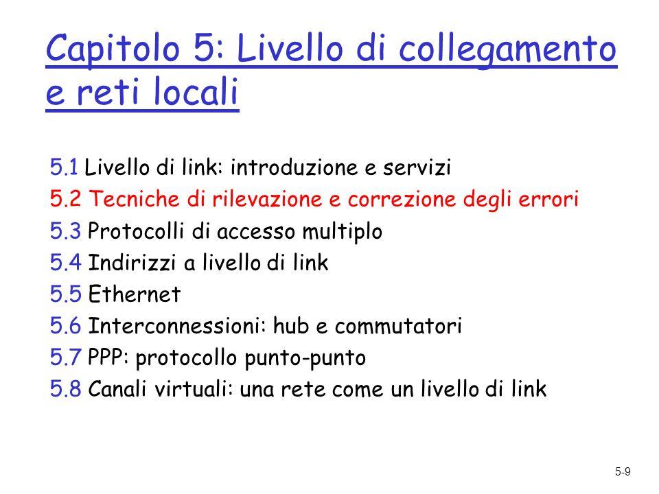 5-9 Capitolo 5: Livello di collegamento e reti locali 5.1 Livello di link: introduzione e servizi 5.2 Tecniche di rilevazione e correzione degli errori 5.3 Protocolli di accesso multiplo 5.4 Indirizzi a livello di link 5.5 Ethernet 5.6 Interconnessioni: hub e commutatori 5.7 PPP: protocollo punto-punto 5.8 Canali virtuali: una rete come un livello di link