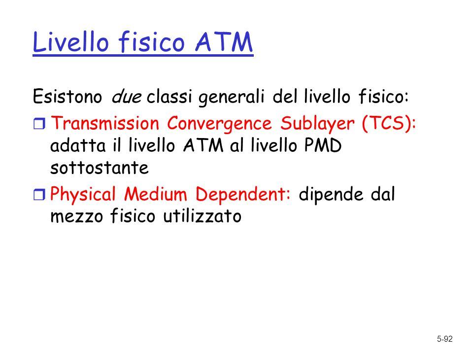 5-92 Livello fisico ATM Esistono due classi generali del livello fisico: r Transmission Convergence Sublayer (TCS): adatta il livello ATM al livello PMD sottostante r Physical Medium Dependent: dipende dal mezzo fisico utilizzato
