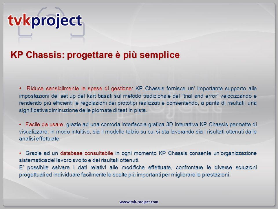 KP Chassis: progettare è più semplice Riduce sensibilmente le spese di gestione: KP Chassis fornisce un importante supporto alle impostazioni del set