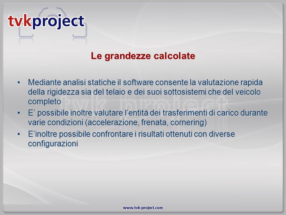 Le grandezze calcolate Mediante analisi statiche il software consente la valutazione rapida della rigidezza sia del telaio e dei suoi sottosistemi che
