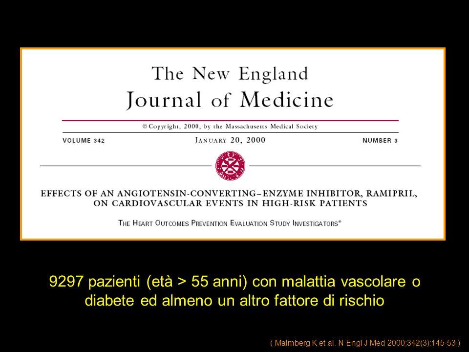 ( Malmberg K et al. N Engl J Med 2000;342(3):145-53 ) 9297 pazienti (età > 55 anni) con malattia vascolare o diabete ed almeno un altro fattore di ris