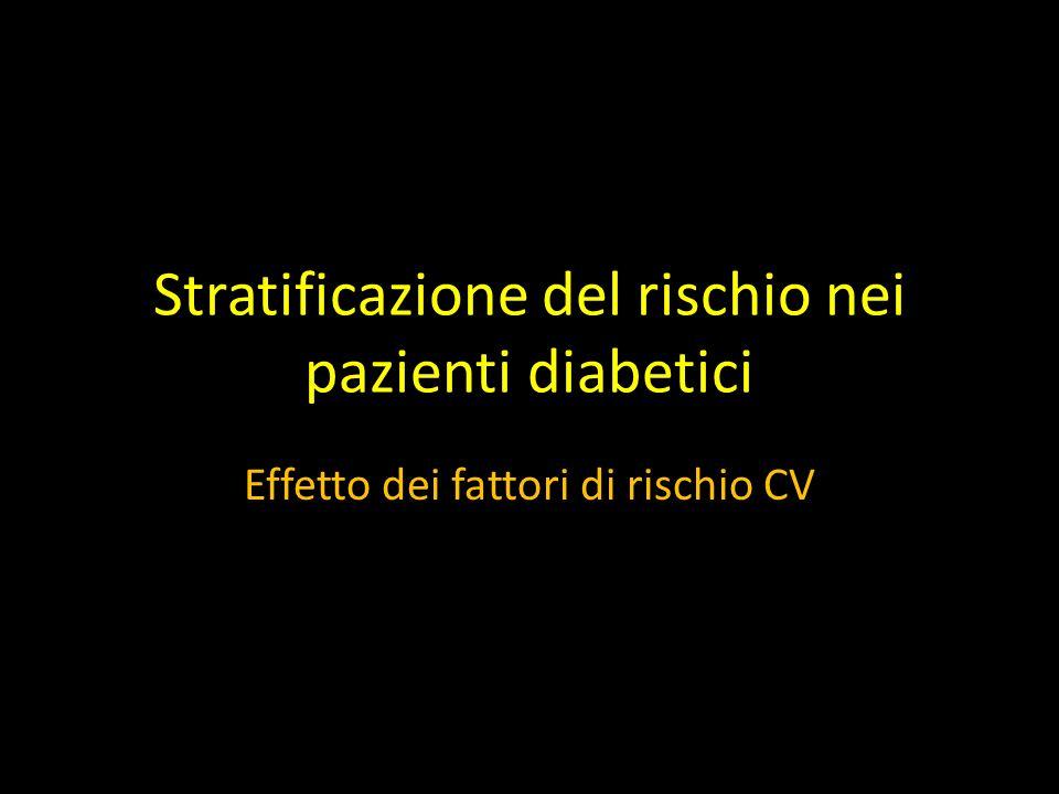 Stratificazione del rischio nei pazienti diabetici Effetto dei fattori di rischio CV