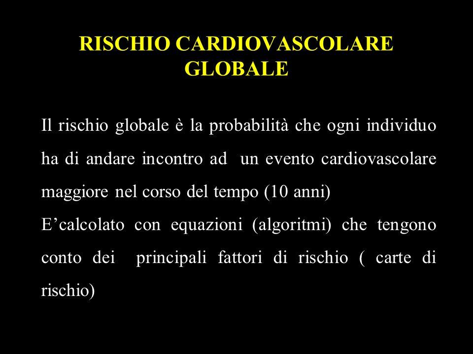 RISCHIO CARDIOVASCOLARE GLOBALE Il rischio globale è la probabilità che ogni individuo ha di andare incontro ad un evento cardiovascolare maggiore nel