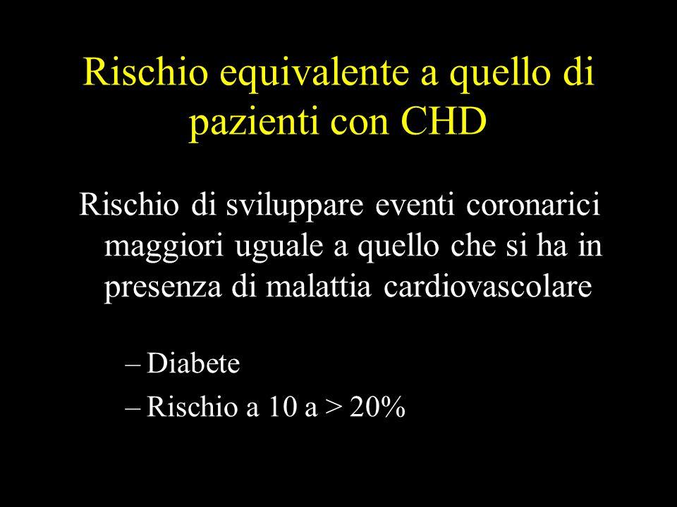 Rischio equivalente a quello di pazienti con CHD Rischio di sviluppare eventi coronarici maggiori uguale a quello che si ha in presenza di malattia ca