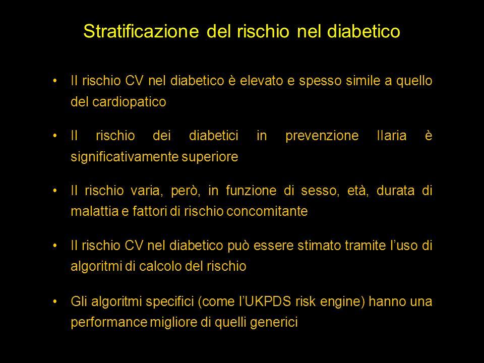 Stratificazione del rischio nel diabetico Il rischio CV nel diabetico è elevato e spesso simile a quello del cardiopatico Il rischio dei diabetici in