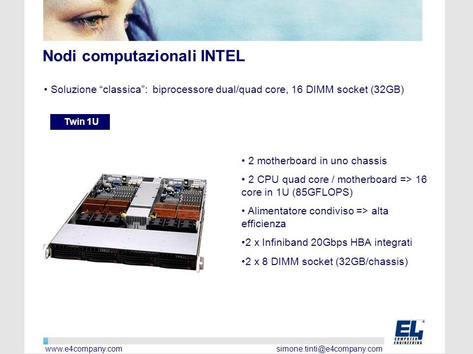 Nodi computazionali INTEL Soluzione classica: biprocessore dual/quad core, 16 DIMM socket (32GB) Twin 1U 2 motherboard in uno chassis 2 CPU quad core / motherboard => 16 core in 1U (85GFLOPS) Alimentatore condiviso => alta efficienza 2 x Infiniband 20Gbps HBA integrati 2 x 8 DIMM socket (32GB/chassis) www.e4company.com simone.tinti@e4company.com
