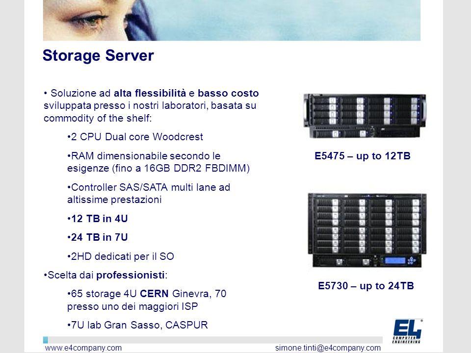 Storage Server Soluzione ad alta flessibilità e basso costo sviluppata presso i nostri laboratori, basata su commodity of the shelf: 2 CPU Dual core Woodcrest RAM dimensionabile secondo le esigenze (fino a 16GB DDR2 FBDIMM) Controller SAS/SATA multi lane ad altissime prestazioni 12 TB in 4U 24 TB in 7U 2HD dedicati per il SO Scelta dai professionisti: 65 storage 4U CERN Ginevra, 70 presso uno dei maggiori ISP 7U lab Gran Sasso, CASPUR E5730 – up to 24TB E5475 – up to 12TB www.e4company.com simone.tinti@e4company.com