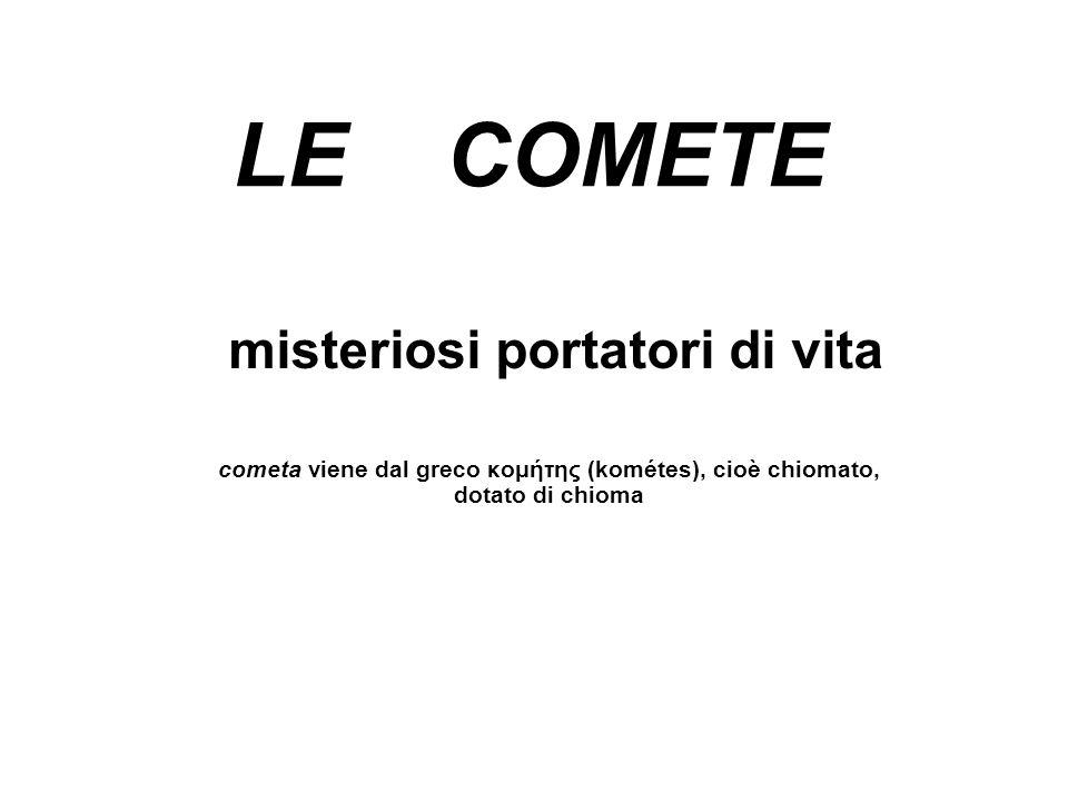 LE COMETE misteriosi portatori di vita cometa viene dal greco κομήτης (kométes), cioè chiomato, dotato di chioma