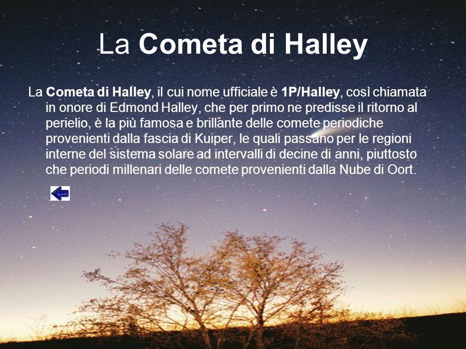 La Cometa di Halley La Cometa di Halley, il cui nome ufficiale è 1P/Halley, così chiamata in onore di Edmond Halley, che per primo ne predisse il rito
