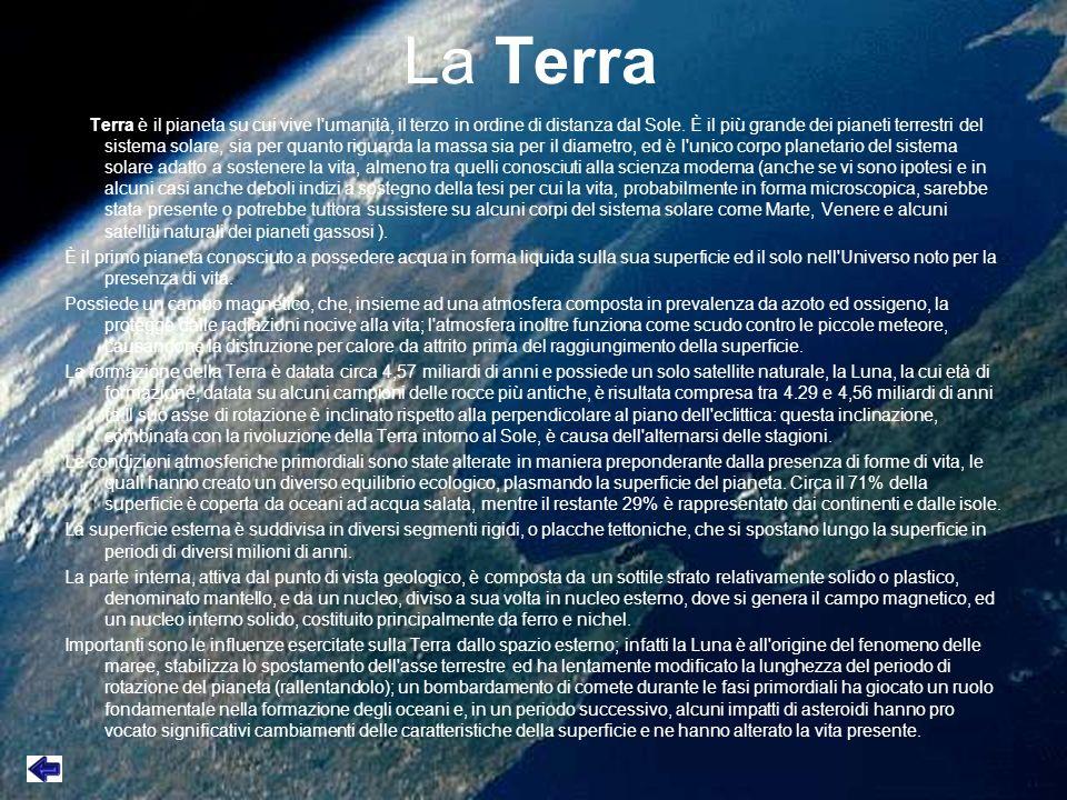 La Terra La Terra è il pianeta su cui vive l'umanità, il terzo in ordine di distanza dal Sole. È il più grande dei pianeti terrestri del sistema solar