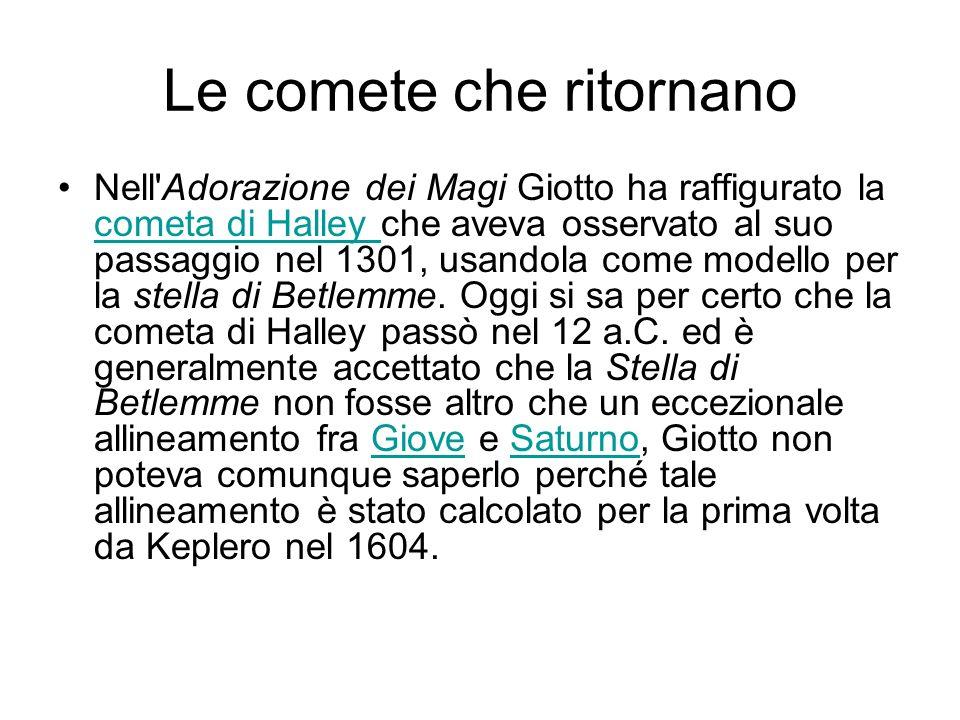 Le comete che ritornano Nell'Adorazione dei Magi Giotto ha raffigurato la cometa di Halley che aveva osservato al suo passaggio nel 1301, usandola com