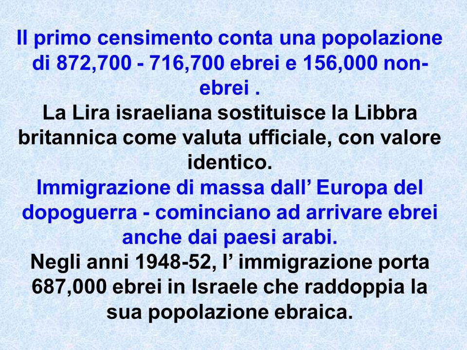 Il primo censimento conta una popolazione di 872,700 - 716,700 ebrei e 156,000 non- ebrei. La Lira israeliana sostituisce la Libbra britannica come va