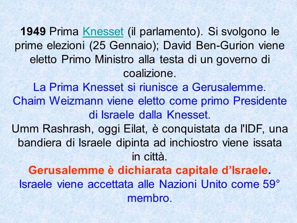 1949 Prima Knesset (il parlamento). Si svolgono le prime elezioni (25 Gennaio); David Ben-Gurion viene eletto Primo Ministro alla testa di un governo