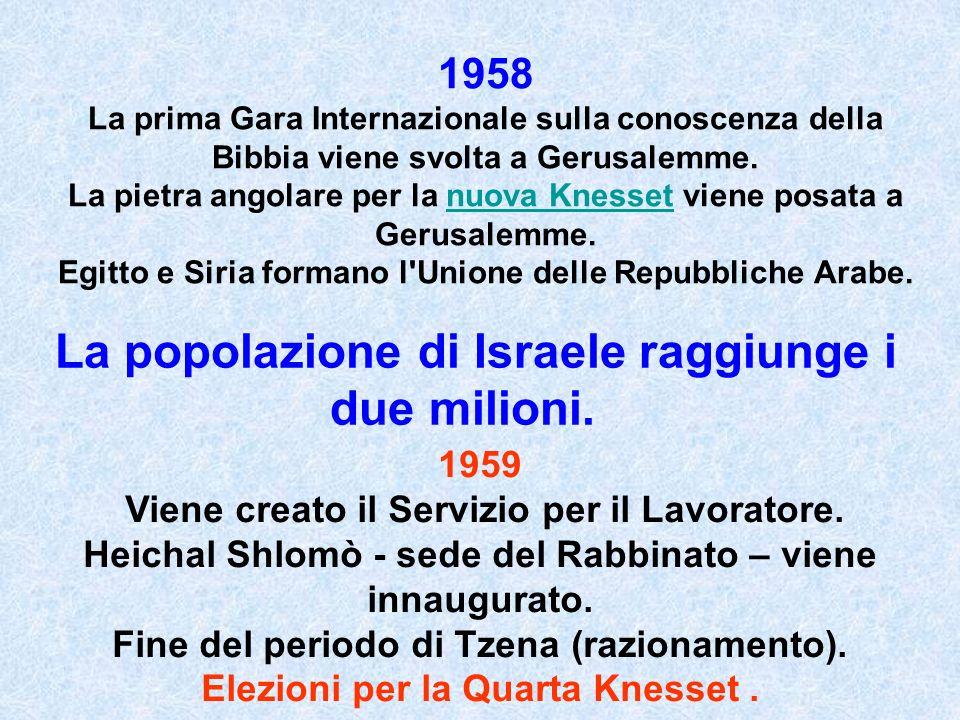 1958 La prima Gara Internazionale sulla conoscenza della Bibbia viene svolta a Gerusalemme. La pietra angolare per la nuova Knesset viene posata a Ger