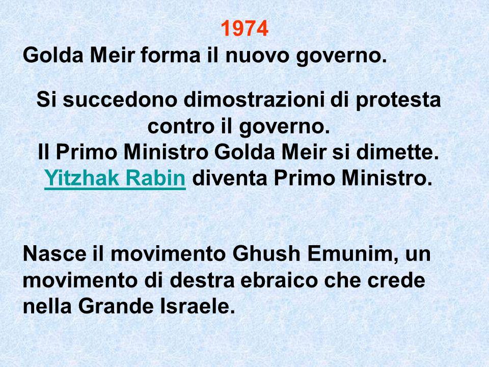 1974 Golda Meir forma il nuovo governo. Si succedono dimostrazioni di protesta contro il governo. Il Primo Ministro Golda Meir si dimette. Yitzhak Rab