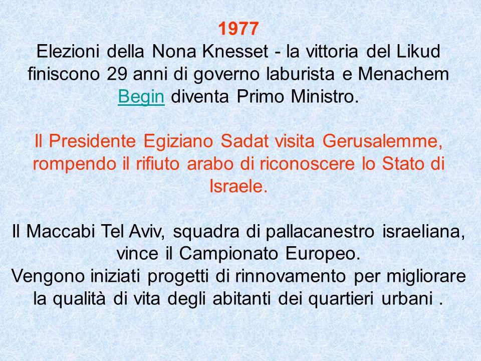 1977 Elezioni della Nona Knesset - la vittoria del Likud finiscono 29 anni di governo laburista e Menachem Begin diventa Primo Ministro.