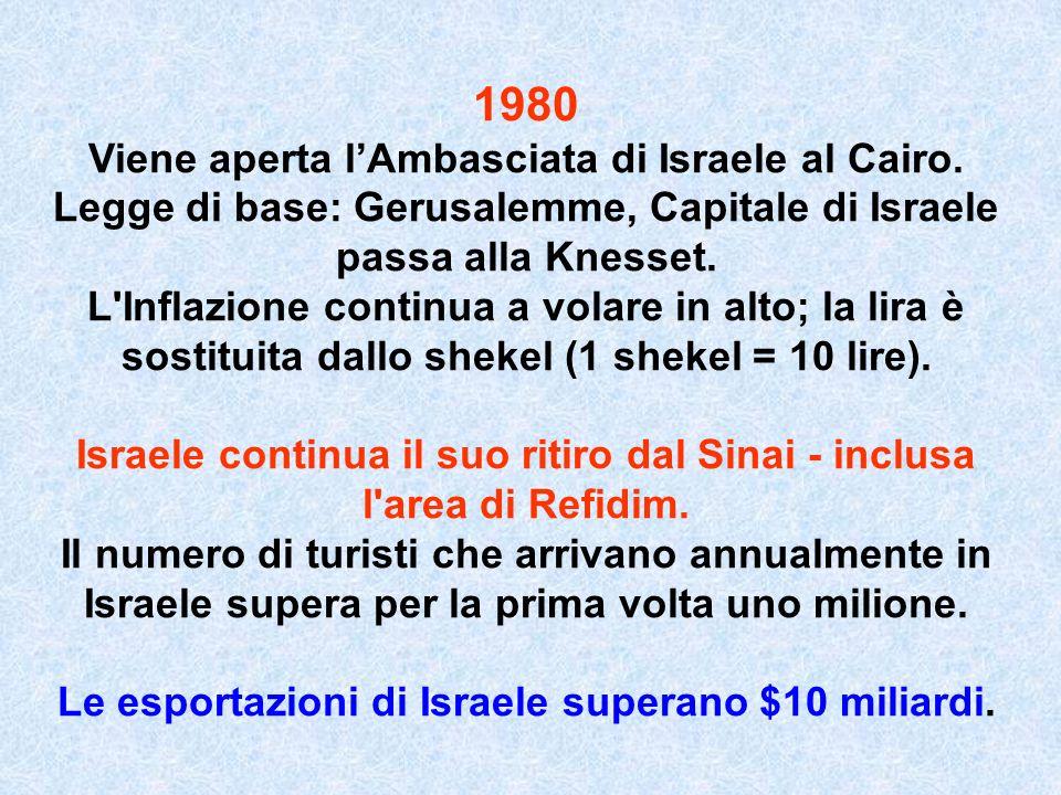 1980 Viene aperta lAmbasciata di Israele al Cairo. Legge di base: Gerusalemme, Capitale di Israele passa alla Knesset. L'Inflazione continua a volare