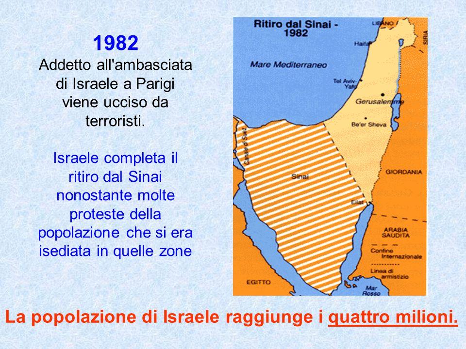 1982 Addetto all'ambasciata di Israele a Parigi viene ucciso da terroristi. Israele completa il ritiro dal Sinai nonostante molte proteste della popol